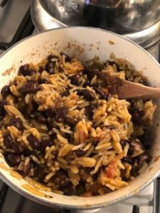 easy rice and beans with salsa